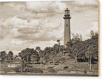Sepia Lighthouse Wood Print by Rudy Umans