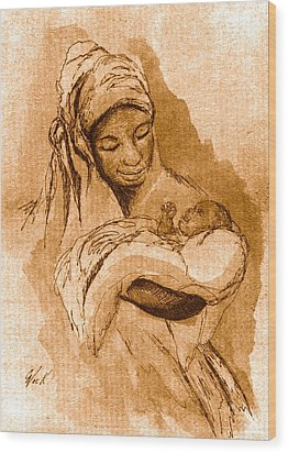 Sepia Madonna Wood Print by George Nock