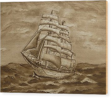 Wood Print featuring the painting Sepia Oceans Fury by Kelly Mills