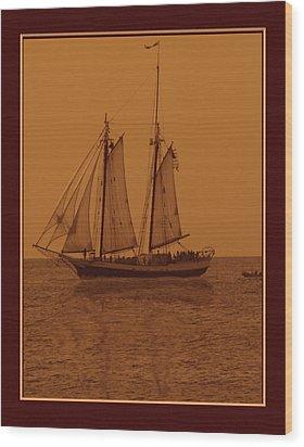 Sepia Sail Boat Wood Print by John Breen
