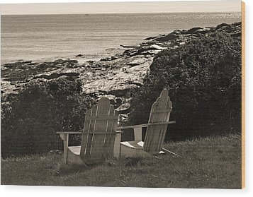 Sepia Seaside Retreat Wood Print by Lone Dakota Photography