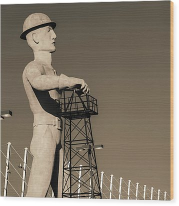 Wood Print featuring the photograph Sepia Tulsa Driller - Oklahoma by Gregory Ballos