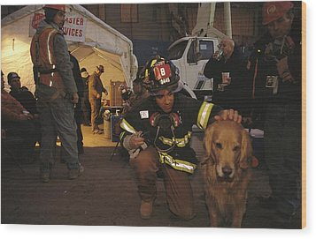 September 11th Rescue Workers Receive Wood Print by Ira Block