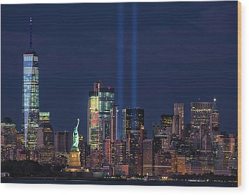Wood Print featuring the photograph September 11tribute In Light by Emmanuel Panagiotakis