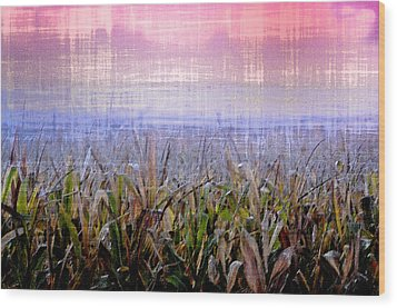 September Cornfield Wood Print by Bill Cannon