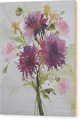 September Dahlias Wood Print