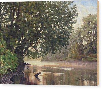 September Dawn Little Sioux River - Plein Air Wood Print by Bruce Morrison