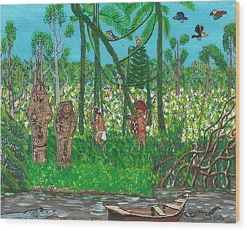 September   Hunters In The Jungle Wood Print