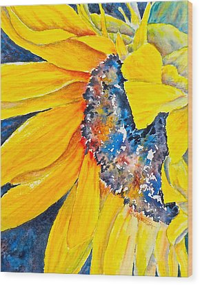 September Sunflower Wood Print