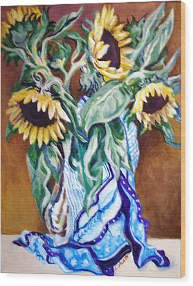 Wood Print featuring the painting September Sunflowers by Laura Aceto