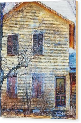 Wood Print featuring the photograph September's Gone - Yellow Farmhouse Windows by Janine Riley
