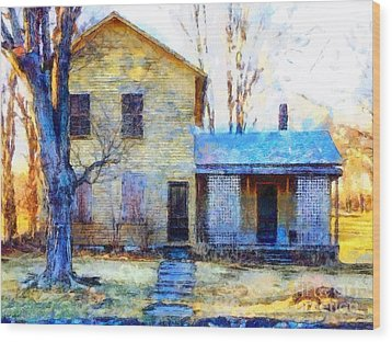 Wood Print featuring the photograph September's Song - Yellow Farmhouse  by Janine Riley