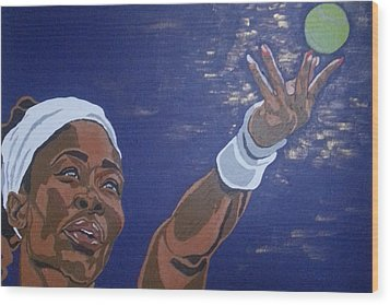 Wood Print featuring the painting Serena Williams by Rachel Natalie Rawlins