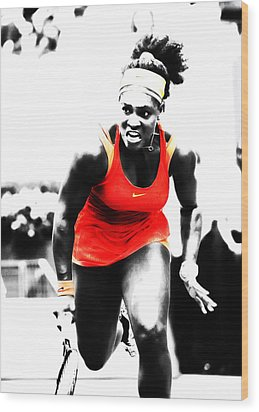 Serena Williams Go Get It Wood Print
