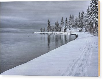 Wood Print featuring the photograph Serene Beauty Of Lake Tahoe Winter by Peter Thoeny