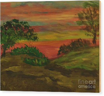 Serene Hillside II Wood Print by Marie Bulger