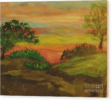 Serene Hillside I Wood Print by Marie Bulger