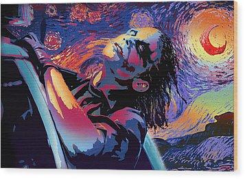 Serene Starry Night Wood Print by Surj LA