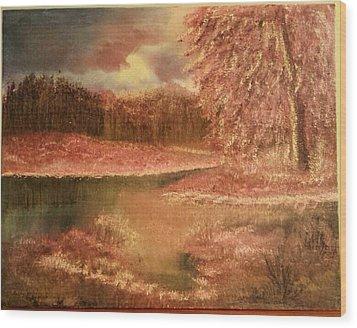 Serene Lake  Wood Print