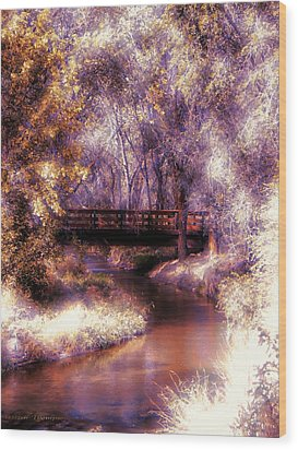 Serene River Bridge Wood Print by Michelle Frizzell-Thompson