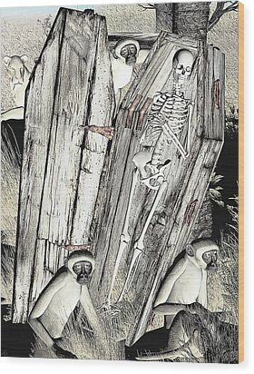 Wood Print featuring the digital art Serengeti Scavengers by Maynard Ellis