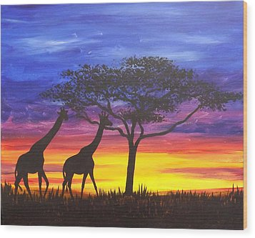 Wood Print featuring the painting Serengeti Sunset by Darren Robinson
