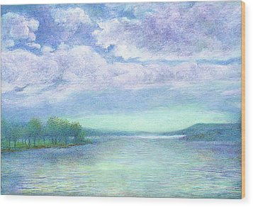Wood Print featuring the painting Serenity Blue Lake by Judith Cheng