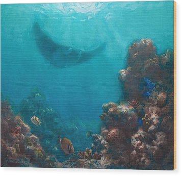 Serenity - Hawaiian Underwater Reef And Manta Ray Wood Print by Karen Whitworth