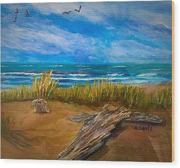Serenity On A Florida Beach Wood Print
