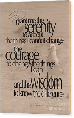 Serenity Prayer 04 Wood Print by Vicki Ferrari