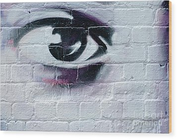 Wood Print featuring the painting Serious Graffiti Eye On The Wall by Yurix Sardinelly