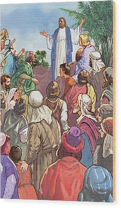 Sermon On The Mount Wood Print by Valer Ian