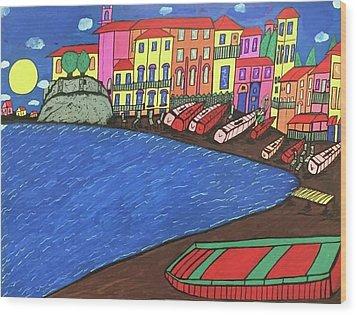 Wood Print featuring the painting Sestri Levante Italy by Jonathon Hansen