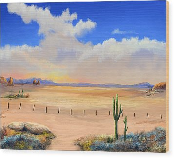 Wood Print featuring the painting Setting Desert Sun by Sena Wilson