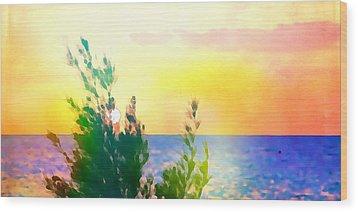 Pastel Colors On The Atlantic Ocean In Cancun Wood Print