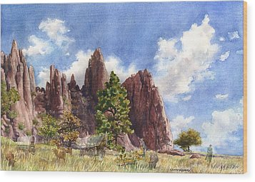 Wood Print featuring the painting Settler's Park, Boulder, Colorado by Anne Gifford