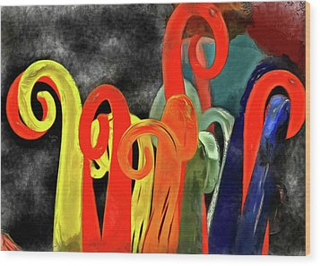 Wood Print featuring the mixed media Seuss' Canes by Trish Tritz