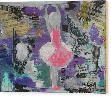 Wood Print featuring the mixed media Sevella by Lisa McKinney