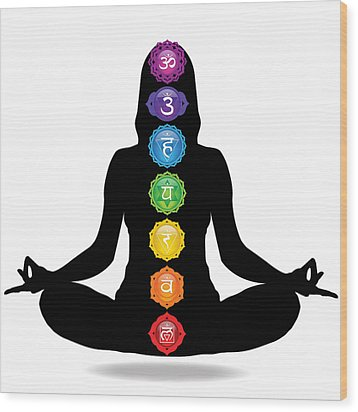 Seven Chakra Illustration With Woman Silhouette Wood Print by Serena King