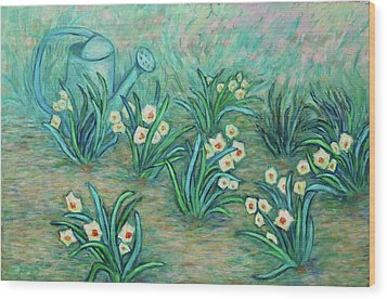 Wood Print featuring the painting Seven Daffodils by Xueling Zou