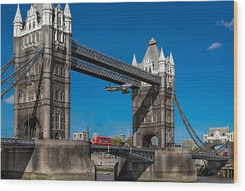 Seven Seconds - The Tower Bridge Hawker Hunter Incident  Wood Print by Gary Eason