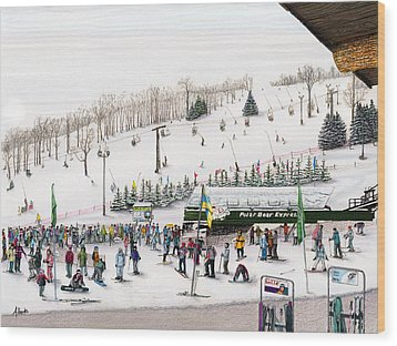 Wood Print featuring the painting Seven Springs Stowe Slope by Albert Puskaric