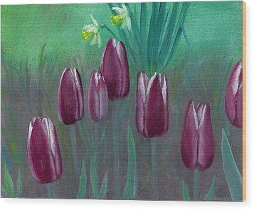 Seven Tulips Wood Print by Laurel Ellis
