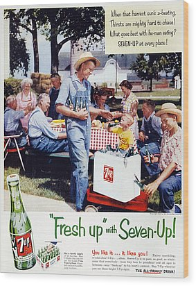 Seven-up Soda Ad, 1954 Wood Print by Granger