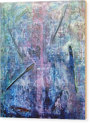 Seven Zippers Wood Print by Nancy Mueller
