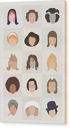 Seventies Movie Chicks Wood Print by Mitch Frey
