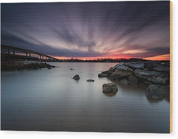 Severn River Dusk Wood Print by Jennifer Casey