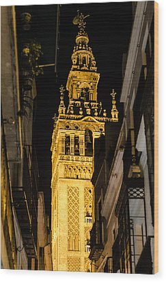 Seville - The Giralda At Night  Wood Print