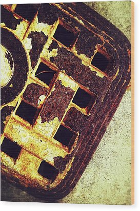 Sewer Drain Wood Print by Olivier Calas
