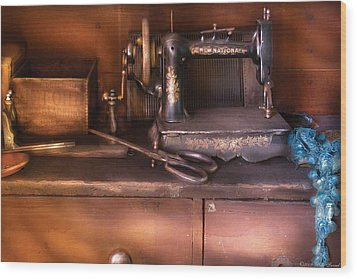 Sewing - New National Sewing Machine  Wood Print by Mike Savad